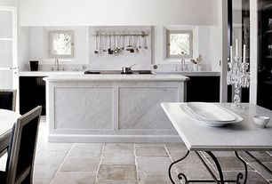 Contemporary Kitchen with Kitchen island, French doors, Complex marble counters, Pental white carrara extra polished marble