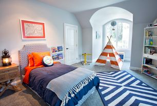Contemporary Kids Bedroom with specialty door, Arched window, Indoor/ outdoor navy zig-zag rug, Kidkraft teepee in chevron