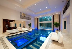 Contemporary Swimming Pool with exterior stone floors, French doors, picture window, Casement, Indoor pool, Deck Railing