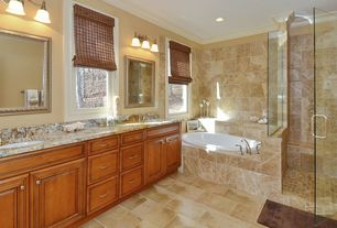 Traditional Master Bathroom with Flush, Complex granite counters, Raised panel, frameless showerdoor, Crown molding