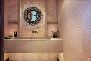 """Eclectic Powder Room with ALFI brand ABC3219-CO Natural 32"""" x 19"""" Concrete Farm Sink Single Bowl, Undermount sink"""