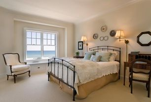 Cottage Master Bedroom with Carpet, Crown molding, Window seat