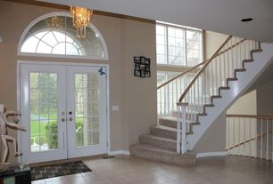 Traditional Front Door with Transom window, French doors, picture window, exterior stone floors, Pathway