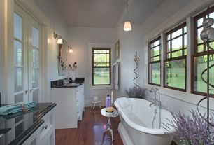 Craftsman Master Bathroom with Soapstone, Ms international black antique granite, Undermount sink, Pendant light, Flush