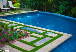 Traditional Swimming Pool with Fence, Pathway, exterior stone floors, Infinity pool