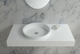"Contemporary Master Bathroom with The builder depot carrara (carrera) venato marble 12x12"" honed tile, Wall mount faucet"