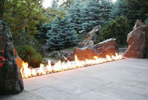 Traditional Landscape/Yard with Outdoor tile, Modern outdoor fire pit