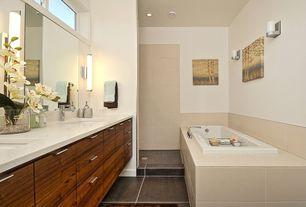Contemporary Master Bathroom with Arizona Tile, Diamond White, Quartz., Wall sconce, Double sink, European Cabinets, Flush