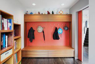 Contemporary Mud Room with Built-in bookshelf, specialty door, Hardwood floors