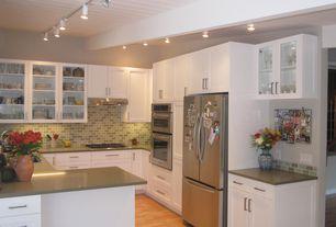 Contemporary Kitchen with flush light, Subway Tile, Pro track galena 4-light white led track fixture, Flush, U-shaped