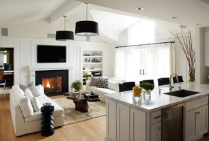 Contemporary Great Room with Pendant light, Modular pendant light, French doors, Transom window, Area rug, Exposed beam