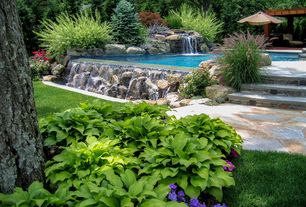 Traditional Landscape/Yard with Water fountain, Pathway, Infinity pool, Trellis, Raised beds