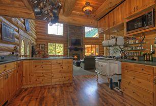 Rustic Kitchen with flush light, U-shaped, Raised panel, Flush, partial backsplash, Hardwood floors, Flat panel cabinets