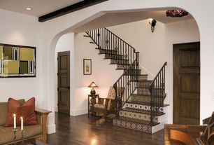 Eclectic Staircase with Hardwood floors, Wall sconce