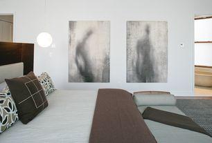 Contemporary Master Bedroom with six panel door, Standard height, Laminate floors, double-hung window