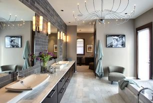Modern Master Bathroom with Chandelier, stone tile floors, Complex marble counters, Wall Tiles, Master bathroom, Flush