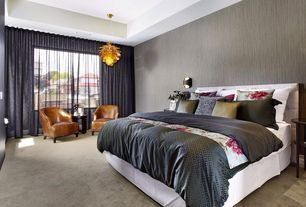 Contemporary Master Bedroom with can lights, Pendant light, Standard height, picture window, Carpet, interior wallpaper