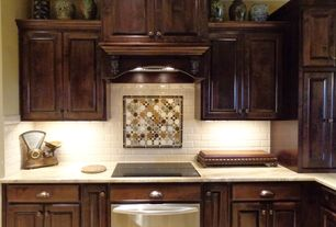 """Traditional Kitchen with Kitchenaid 30"""" electric induction cooktop, Crown molding, mexican tile backsplash, One-wall"""