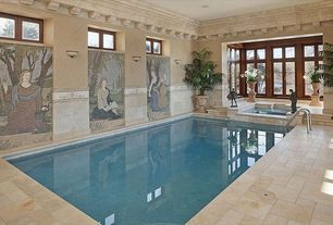 Mediterranean Swimming Pool with picture window, French doors, Pool with hot tub, exterior stone floors, Transom window