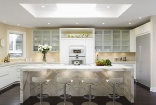 Contemporary Kitchen with European Cabinets, U-shaped, Breakfast bar, Corian counters, Ikea rubrik door fronts, Flush