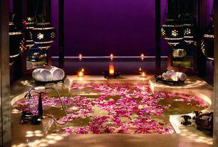 Asian Master Bathroom with Moroccan style lanterns, Master bathroom, Pendant light, Limestone counters, Paint, Bathtub