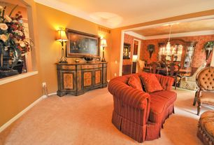 Traditional Living Room with Carpet, Louis Philippe Side Chair by Liberty Furniture, interior wallpaper, Crown molding