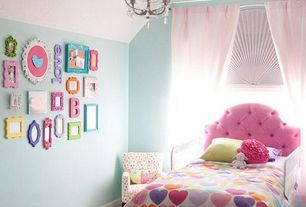 Modern Kids Bedroom with Attic ceiling, Skyline tufted headboard hot pink, Chandelier, Concrete floors, High ceiling, Paint