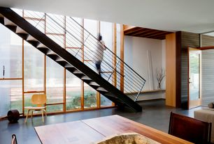 Contemporary Staircase with Stained glass window, Hardwood floors, Floating staircase