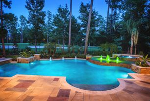 Contemporary Swimming Pool with exterior stone floors, Pathway, Raised beds, Fence, Fountain