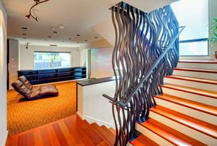 Eclectic Staircase with Standard height, curved staircase, picture