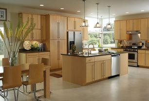 Contemporary Kitchen with Soapstone counters, Breakfast nook, European Cabinets, Pendant light, L-shaped, Flush, Soapstone