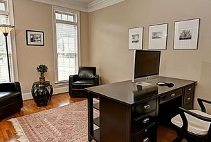 Traditional Home Office with picture window, Crown molding, Paint, Hardwood floors, Standard height, double-hung window