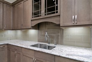 Contemporary Kitchen with Flat panel cabinets, Large Ceramic Tile, Complex granite counters, L-shaped, Glass panel