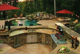 Rustic Patio with Pathway, Cal flame 7 ft. stucco grill island with 4-burner stainless steel propane gas grill, Fountain