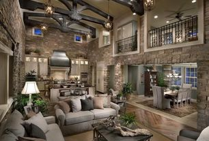 Traditional Living Room with Hardwood floors, Balcony, Exposed beam, Livex Lighting Coronado 6 Light Foyer Pendant