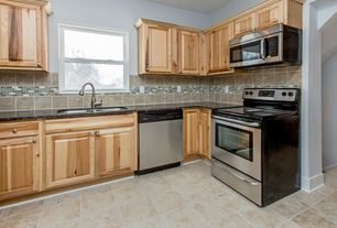 Modern Kitchen with gas range, Raised panel, Large Ceramic Tile, double-hung window, L-shaped, Subway Tile, Multiple Sinks