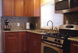 Contemporary Kitchen with Somertile Reflections Square 1-inch Nassau Stone and Glass Mosaic Tiles, Paint 1, Amber yellow