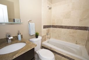 Contemporary Full Bathroom with Standard height, Complex granite counters, Paint, Inset cabinets, shower bath combo, Bathtub