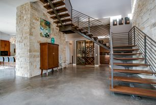 Modern Staircase with Polished concrete floors, Paint, Floating wood and steel staircase, Paint 2