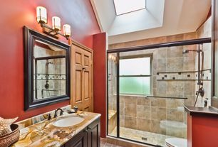 Craftsman 3/4 Bathroom with Undermount sink, Daltile natural stone collection cedar oniciata, Onyx, Onyx counters, Skylight