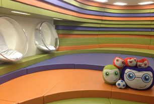 Contemporary Playroom with flush light