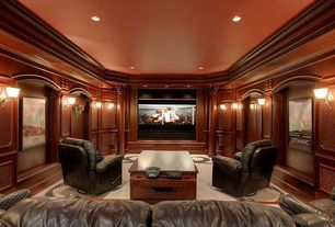 Traditional Home Theater with can lights, Wall sconce, Carpet, Standard height