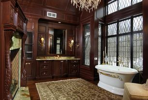 Traditional Master Bathroom with Flush, Hardwood floors, Fireplace, Flat panel cabinets, Standard height, Box ceiling, Onyx