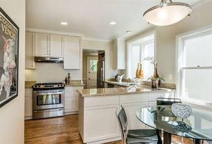 Traditional Kitchen with Simple Granite, Breakfast nook, flush light, Simple granite counters, Crown molding, Flush, U-shaped
