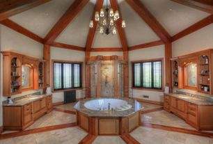 Craftsman Master Bathroom with Plymouth 3 tier 15 light chandelier, Cathedral ceiling, Casement, Complex Granite, Flush