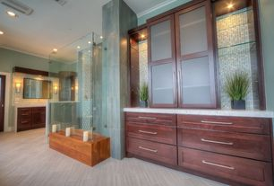 Contemporary Master Bathroom with Corian counters, stone tile floors, Wall sconce, Shower, full backsplash, can lights, Flush