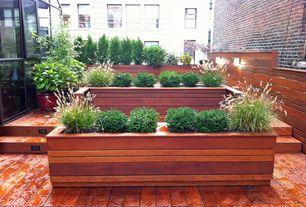 Craftsman Deck with Pavilion Wood Decking - Premium Tropical Massaranduba, Raised beds
