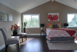 Contemporary Master Bedroom with Exposed beam, can lights, Casement, Crown molding, High ceiling, Hardwood floors
