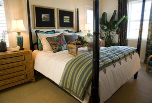 Tropical Master Bedroom with Standard height, double-hung window, Four poster bed, Paint, Carpet