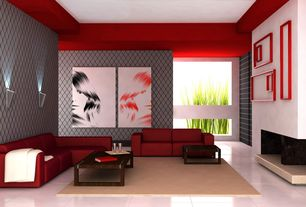 Modern Living Room with Keaton Bonded Leather Sofa - Red, Wall sconce, Brownstone Messina Rectangle Coffee Table